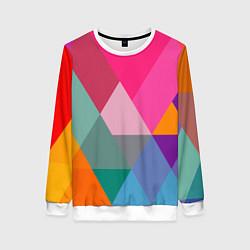 Свитшот женский Разноцветные полигоны цвета 3D-белый — фото 1