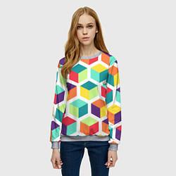 Свитшот женский 3D кубы цвета 3D-меланж — фото 2