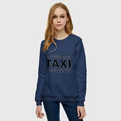 Свитшот хлопковый женский Taxi цвета тёмно-синий — фото 2