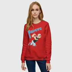 Свитшот хлопковый женский Popeye цвета красный — фото 2