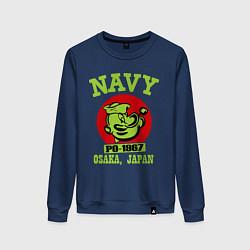 Свитшот хлопковый женский Navy: Po-1967 цвета тёмно-синий — фото 1