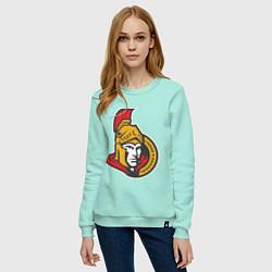 Свитшот хлопковый женский Ottawa Senators цвета мятный — фото 2