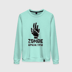 Свитшот хлопковый женский Зомби Апокалипсис цвета мятный — фото 1