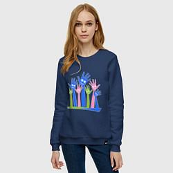 Свитшот хлопковый женский Hands Up цвета тёмно-синий — фото 2