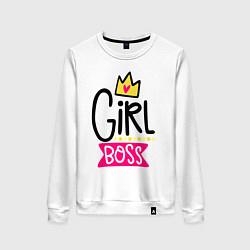 Свитшот хлопковый женский Girl Boss цвета белый — фото 1