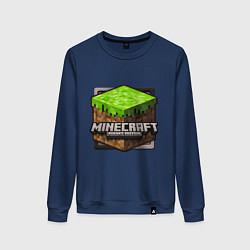 Свитшот хлопковый женский Minecraft: Pocket Edition цвета тёмно-синий — фото 1