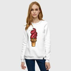 Свитшот хлопковый женский Мороженко цвета белый — фото 2