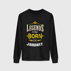 Свитшот хлопковый женский Legends are born in january цвета черный — фото 1