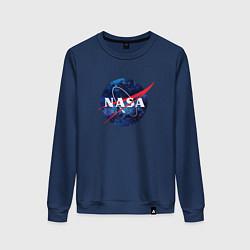 Свитшот хлопковый женский NASA: Cosmic Logo цвета тёмно-синий — фото 1