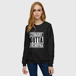 Свитшот хлопковый женский Straight Outta Sosnovka цвета черный — фото 2