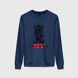 Женский хлопковый свитшот с принтом Keep Calm & Listen T.mraz, цвет: тёмно-синий, артикул: 10142792505317 — фото 1