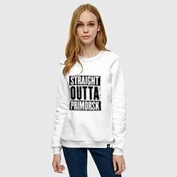 Свитшот хлопковый женский Straight Outta Primorsk цвета белый — фото 2