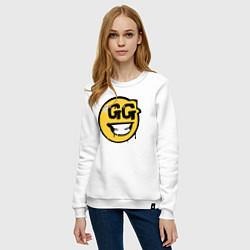 Свитшот хлопковый женский GG Smile цвета белый — фото 2