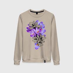Свитшот хлопковый женский Krokus Flower цвета миндальный — фото 1
