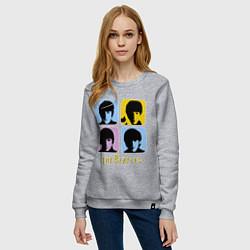 Свитшот хлопковый женский The Beatles: pop-art цвета меланж — фото 2