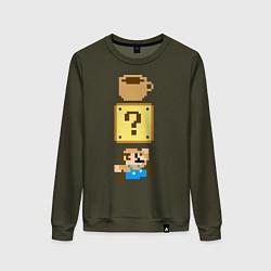 Свитшот хлопковый женский Любитель кофе Марио цвета хаки — фото 1