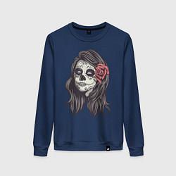 Свитшот хлопковый женский Mexican Girl цвета тёмно-синий — фото 1