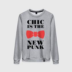 Свитшот хлопковый женский Chic is the new punk цвета меланж — фото 1