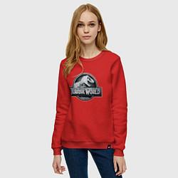 Свитшот хлопковый женский Jurassic World цвета красный — фото 2