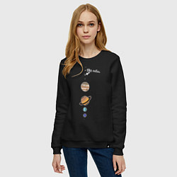 Свитшот хлопковый женский Parade of planets цвета черный — фото 2