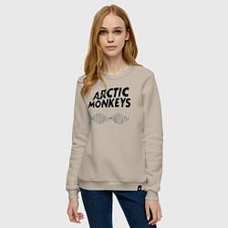 Свитшот хлопковый женский Arctic Monkeys цвета миндальный — фото 2