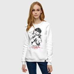 Свитшот хлопковый женский Chelsea Grin: Demon Girl цвета белый — фото 2