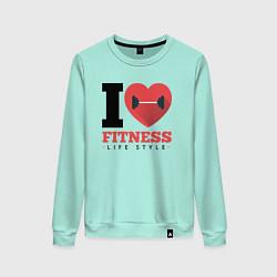 Свитшот хлопковый женский I love Fitness цвета мятный — фото 1