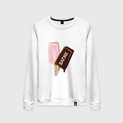 Свитшот хлопковый женский Мороженое. Eat Me цвета белый — фото 1