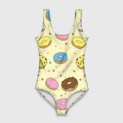 Купальник-боди 3D женский Сладкие пончики цвета 3D — фото 1