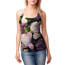 Майка-безрукавка женская Весенние цветы цвета 3D-белый — фото 2