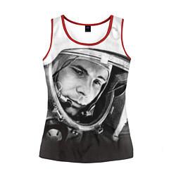 Майка-безрукавка женская Юрий Гагарин цвета 3D-красный — фото 1