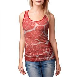 Майка-безрукавка женская Кусок мяса цвета 3D-красный — фото 2