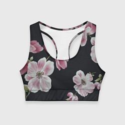 Топик спортивный женский Цветы на черном фоне цвета 3D — фото 1