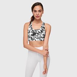 Топик спортивный женский Городской серый камуфляж цвета 3D — фото 2
