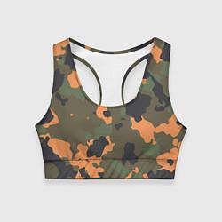 Топик спортивный женский Камуфляж: хаки/оранжевый цвета 3D-принт — фото 1