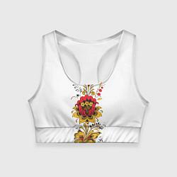 Топик спортивный женский Хохлома: цветы цвета 3D — фото 1
