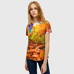 Женская 3D-футболка с принтом Взмах попугая, цвет: 3D, артикул: 10101805103229 — фото 2