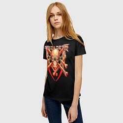 Футболка женская Megadeth: Gold Skull цвета 3D — фото 2