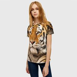 Футболка женская Мудрый тигр цвета 3D — фото 2
