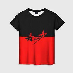 Футболка женская АлисА: Черный & Красный цвета 3D — фото 1