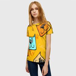 Футболка женская Котики цвета 3D — фото 2