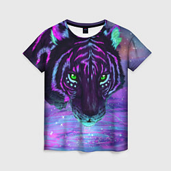 Футболка женская Неоновый тигр цвета 3D — фото 1