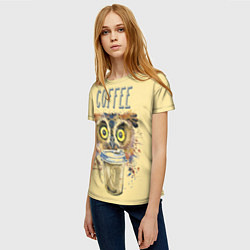 Футболка женская Owls like coffee цвета 3D — фото 2