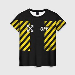 Футболка женская Off-White: Yellow Grunge цвета 3D — фото 1