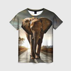 Футболка женская Дикий слон цвета 3D-принт — фото 1