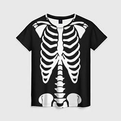 Футболка женская Скелет цвета 3D-принт — фото 1