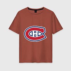 Футболка оверсайз женская Montreal Canadiens цвета кирпичный — фото 1