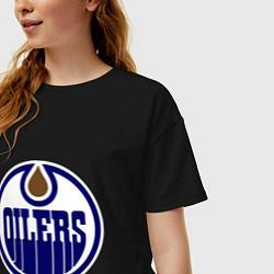 Футболка оверсайз женская Edmonton Oilers цвета черный — фото 2