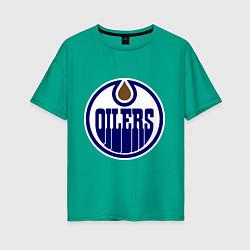 Футболка оверсайз женская Edmonton Oilers цвета зеленый — фото 1