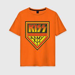 Футболка оверсайз женская Kiss Army цвета оранжевый — фото 1